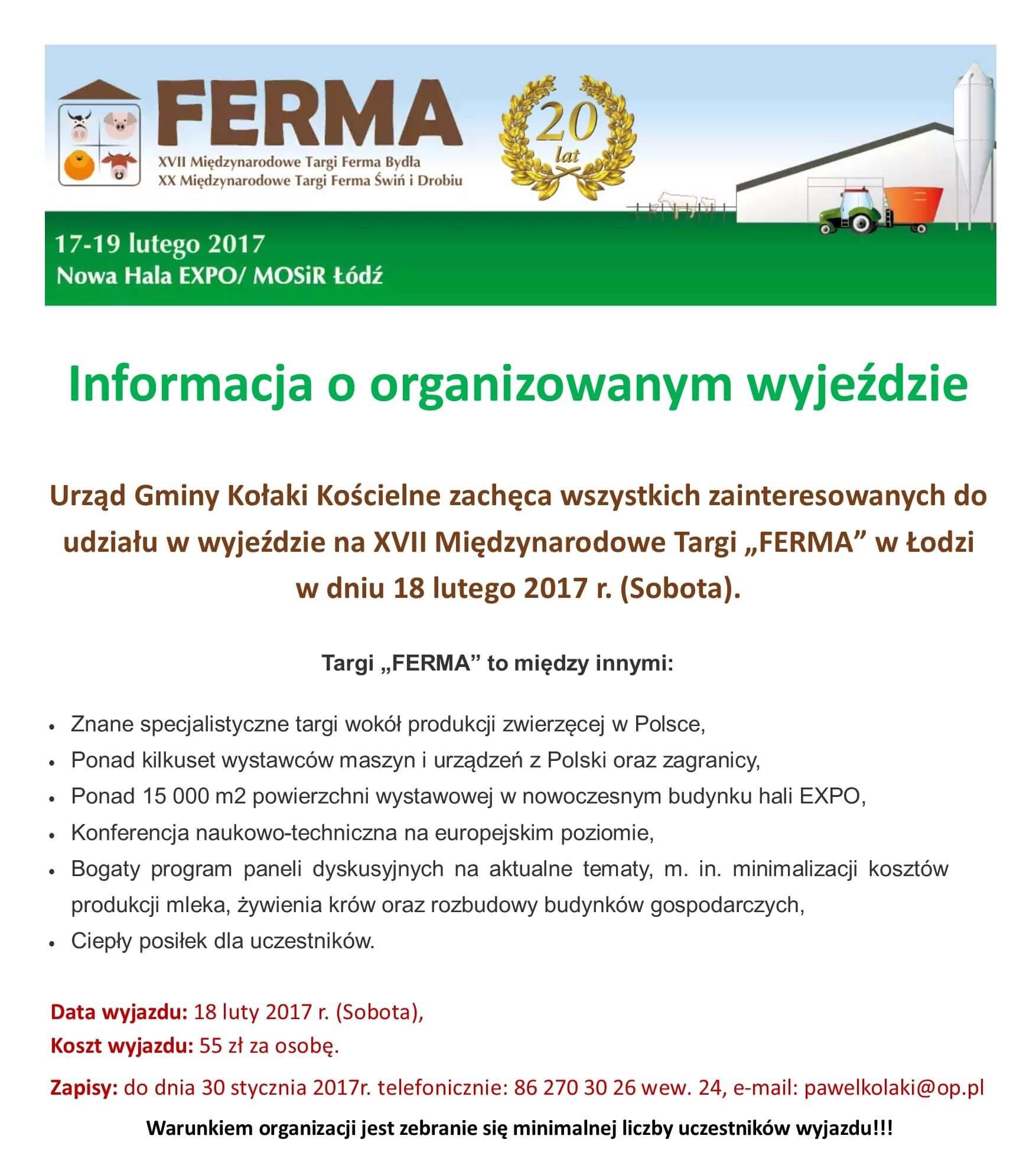 """Informacja o organizowanym wyjeździe na targi """"FERMA"""" w Łodzi"""