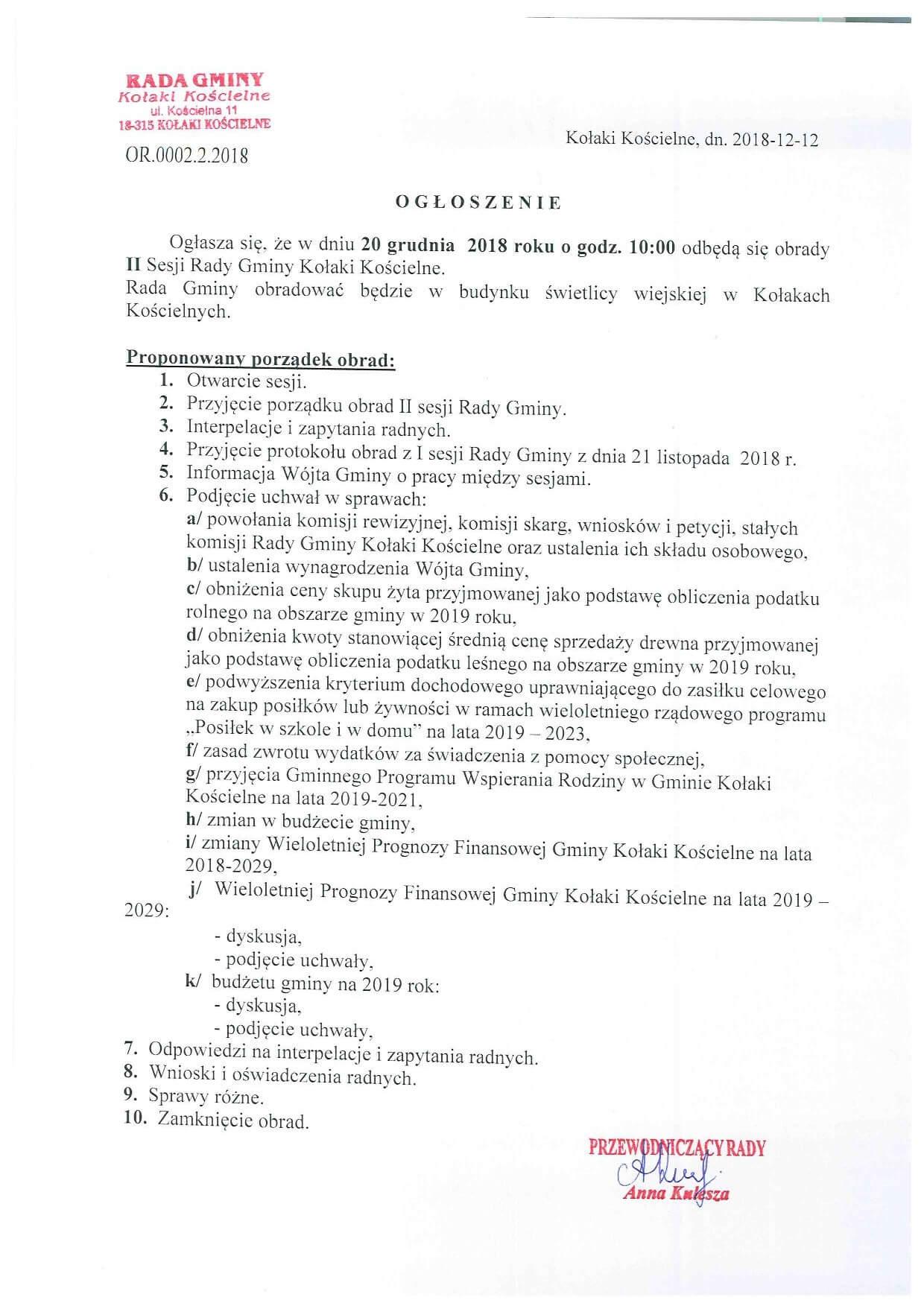 Ogłoszenie o II sesji Rady Gminy Kołaki Kościelne