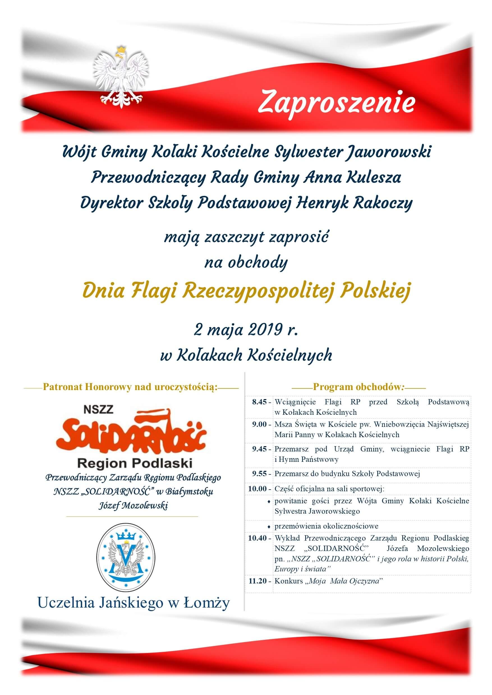 Zaproszenie na obchody Gminnego Dnia Flagi RP