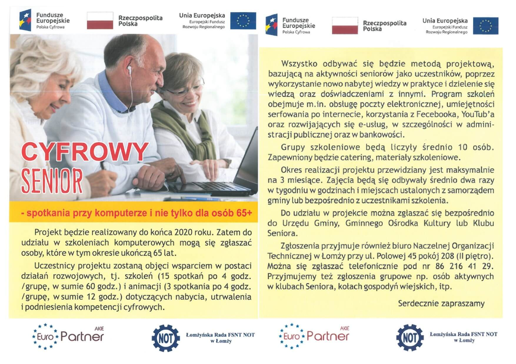 Cyfrowy Senior – zaproszenie do udziału w szkoleniach